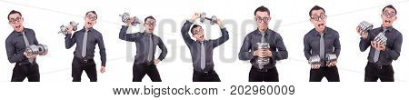 Funny businessman with dumbbells isolated on white