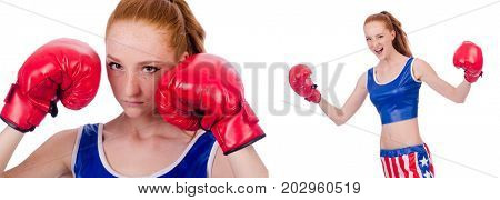 Woman boxer in uniform with US symbols