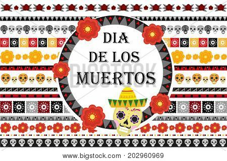 Day of the dead Mexican holiday set of patterned brushes. Dia de los muertos border for your design. Isolated on white background. Vector illustration