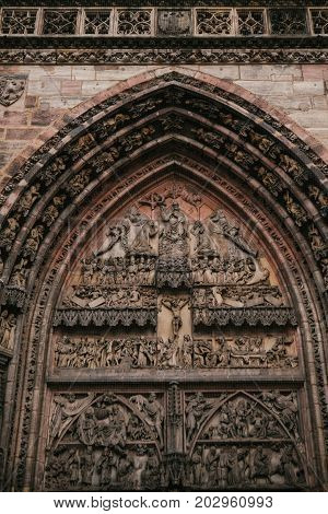 Fragment of the exterior of the oldest church of St. Lorenz, one of the most significant and most beautiful medieval churches of the city of Nuremberg.