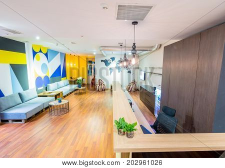 Hotel reception of hostel dormitory