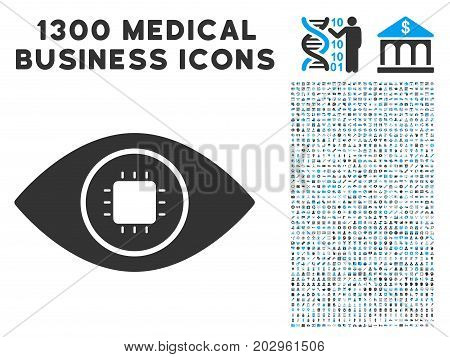 Bionic Eye Lens gray vector icon with 1300 clinic business pictographs. Clipart style is flat bicolor light blue and gray pictograms.
