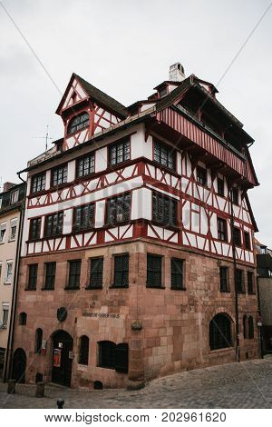 Daytime view at Albrecht Durer's House in Nuremberg, Germany. Germany, Nuremberg, December 27, 2016. A famous building in the city. Sight.