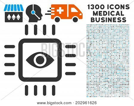 Bionic Vision Chip gray vector icon with 1300 doctor commercial icons. Collection style is flat bicolor light blue and gray pictograms.