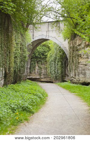 A bridge in the old defenses of the city of Ueberlingen at Lake Constance, Germany.