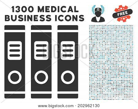 Books gray vector icon with 1300 medical business symbols. Clipart style is flat bicolor light blue and gray pictograms.