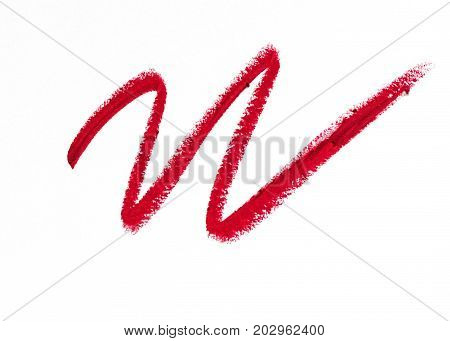 Red pomade line close-up isolated on white background. Make-up beauty.