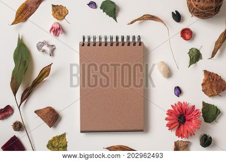 Autumn Background With Craft Notebook Mock Up