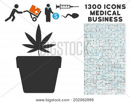 Cannabis Pot grey vector icon with 1300 medical commerce symbols. Set style is flat bicolor light blue and gray pictograms.