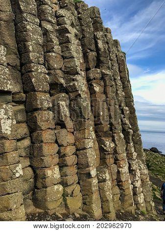 Northern Ireland Basalt Columns Sticking Up From The Ground At  Giants Causeway
