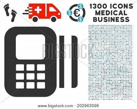 Card Reader gray vector icon with 1300 doctor commerce pictograms. Set style is flat bicolor light blue and gray pictograms.