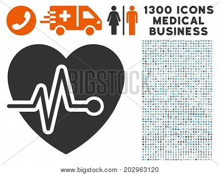 Cardio Pulse grey vector icon with 1300 medicine commercial symbols. Set style is flat bicolor light blue and gray pictograms.