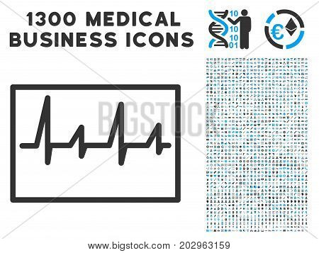 Cardiogram gray vector icon with 1300 medicine commercial pictograms. Clipart style is flat bicolor light blue and gray pictograms.