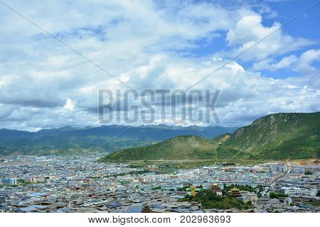 Beautiful view of the Shangri-La city from the top of the hill. Tibet China.