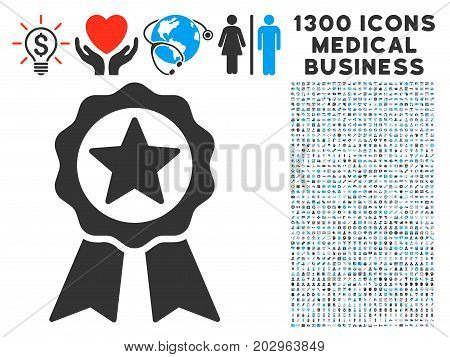 Certificate Seal gray vector icon with 1300 clinic commercial pictographs. Clipart style is flat bicolor light blue and gray pictograms.