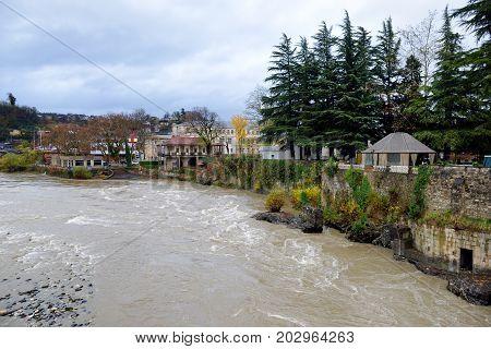 Majestic Rioni River Flowing Through Kutaisi Town In Georgia