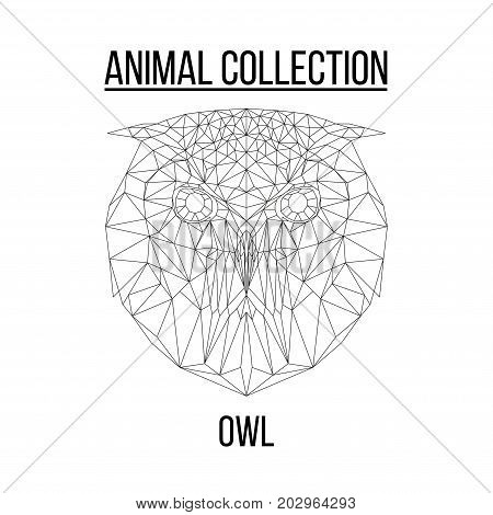 Owl head geometric lines silhouette isolated on white background vintage vector design element illustration