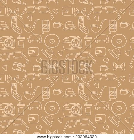 Seamless Hipster pattern in light brown color with retro and vintage symbols. Modern fashionable background with a white stroke. Cartoon hand draw style