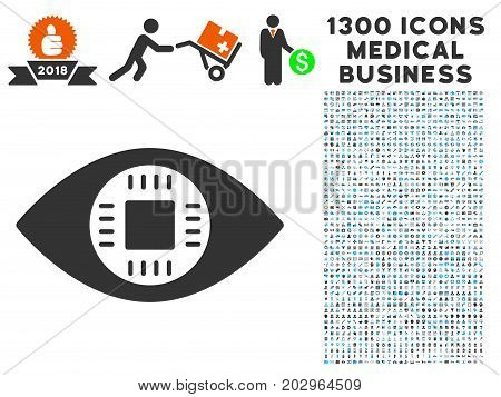 Chip Eye Lens grey vector icon with 1300 medical business icons. Collection style is flat bicolor light blue and gray pictograms.