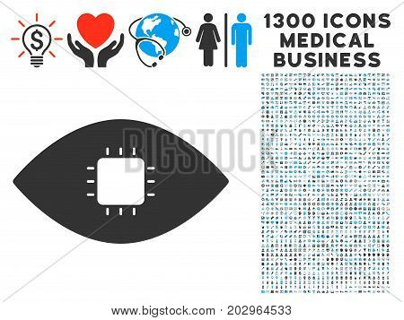 Chip Eye Retina gray vector icon with 1300 healthcare business symbols. Set style is flat bicolor light blue and gray pictograms.