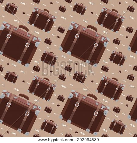 Seamless hipster pattern with retro suitcase in brown color. Modern fashionable background with vintage travel baggage. Cartoon hand draw style