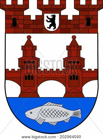 Coat of arms of Friedrichshain is a district of Friedrichshain-Kreuzberg in Berlin Germany. Vector illustration from the