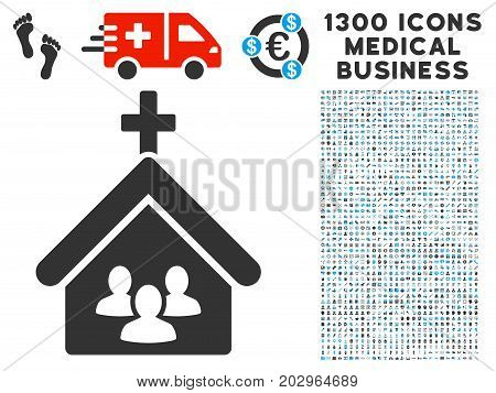 Church People gray vector icon with 1300 healthcare business pictograms. Set style is flat bicolor light blue and gray pictograms.
