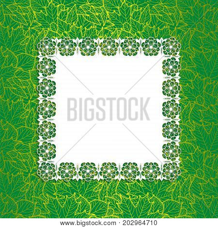 Card design template with place for your text. Floral lacy frame on decorative background with leaves. Golden lines on dark green
