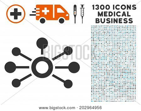 Connections gray vector icon with 1300 clinic business symbols. Clipart style is flat bicolor light blue and gray pictograms.