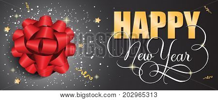 Happy New Year lettering. New Year Day greeting card with big bow. Handwritten and typed text, calligraphy. For greeting cards, posters, leaflets and brochures.