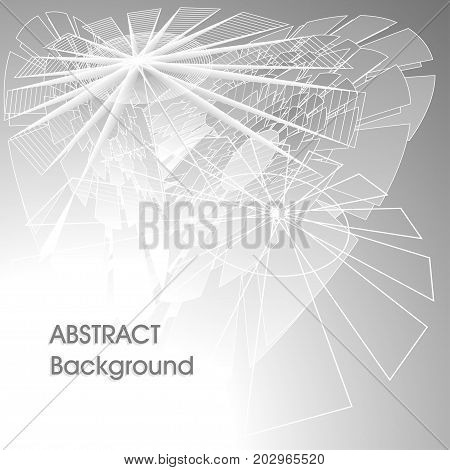 Abstract digital futuristic universal background in grey silver colors with lines polygons abstract umbrella or world web