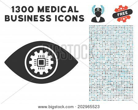 Cyber Eye Lens gray vector icon with 1300 medicine commerce icons. Collection style is flat bicolor light blue and gray pictograms.