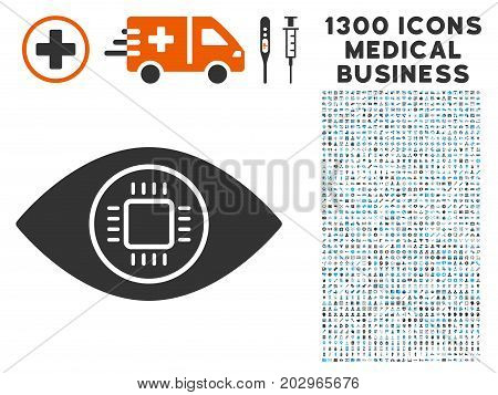 Cyborg Eye grey vector icon with 1300 healthcare commerce symbols. Clipart style is flat bicolor light blue and gray pictograms.