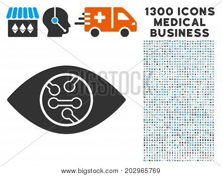 Digital Eye Lens gray vector icon with 1300 healthcare commercial pictograms. Collection style is flat bicolor light blue and gray pictograms.