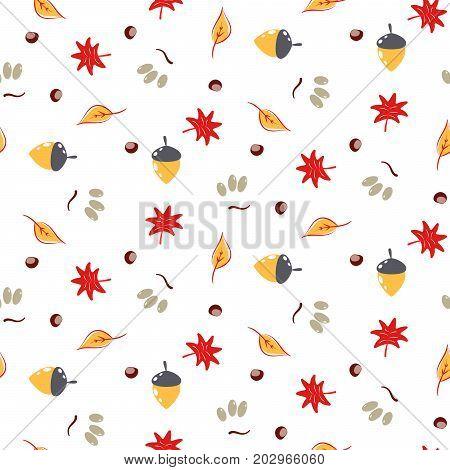 Autumn foliage seamless vector pattern. Fall seasonal nature leaves, acorns and chestnut cartoon texture.