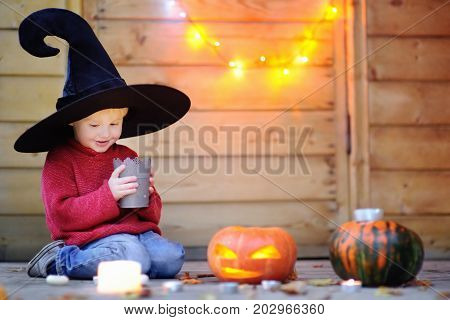 Cute Little Wizard With Jack-o-lanterns (halloween Decorations)
