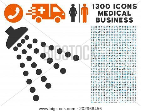 Disinfection Shower grey vector icon with 1300 doctor business icons. Set style is flat bicolor light blue and gray pictograms.