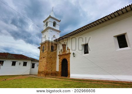 July 13 2017 Villa de Leyva Colombia: white wash cathedral building in the town known for its unchanged colonial style architecture