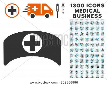 Doctor Cap gray vector icon with 1300 healthcare commercial pictographs. Clipart style is flat bicolor light blue and gray pictograms.