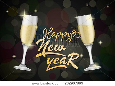 Happy New Year lettering. New Year Day greeting card with two glasses of champagne. Handwritten text, calligraphy. For greeting cards, posters, leaflets and brochures.