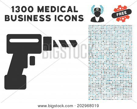 Drill gray vector icon with 1300 health care business pictographs. Clipart style is flat bicolor light blue and gray pictograms.