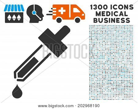 Dropper grey vector icon with 1300 medicine commerce pictograms. Set style is flat bicolor light blue and gray pictograms.