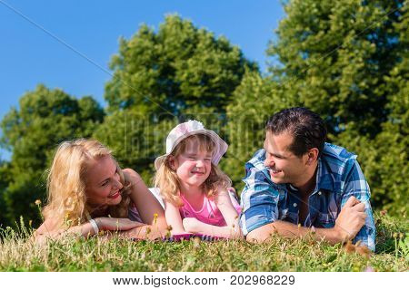 Family lying on meadow, looking to camera, cupping chins in hands