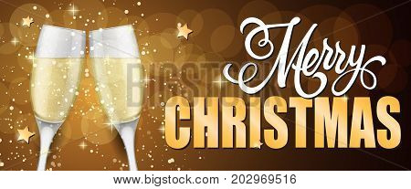 Merry Christmas lettering. Christmas greeting card with two clinked goblets of champagne. Handwritten and typed text, calligraphy. For greeting cards, posters, leaflets and brochures.