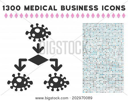 Epidemic Growth Scheme grey vector icon with 1300 health care commerce symbols. Set style is flat bicolor light blue and gray pictograms.