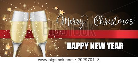 Merry Christmas Happy New Year lettering. Christmas greeting card with two clinked goblets of champagne. Handwritten and typed text, calligraphy. For greeting cards, posters, leaflets and brochures.