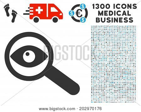 Examine Eye grey vector icon with 1300 medicine commerce pictographs. Clipart style is flat bicolor light blue and gray pictograms.