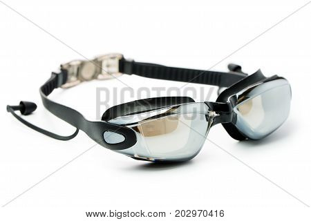Black swim goggles with ear protector isolated on white background