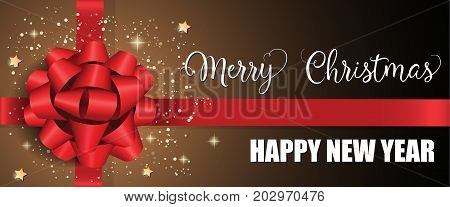 Merry Christmas Happy New Year lettering. New Year Day greeting card with big bow and ribbon. Handwritten and typed text, calligraphy. For greeting cards, posters, leaflets and brochures.