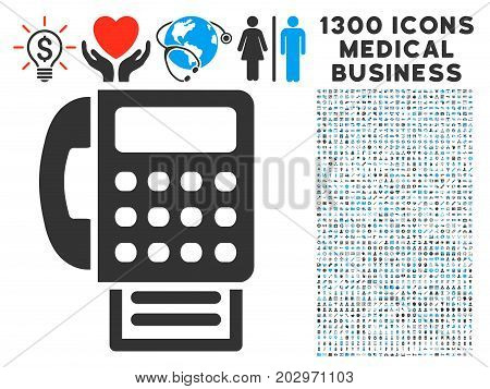 Fax Machine gray vector icon with 1300 doctor commerce symbols. Collection style is flat bicolor light blue and gray pictograms.